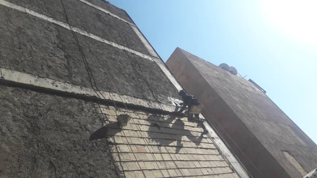 سیمانکاری نما با طناب در تهران